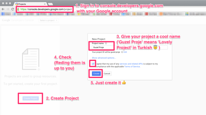 Creating a project on Google Developers Console