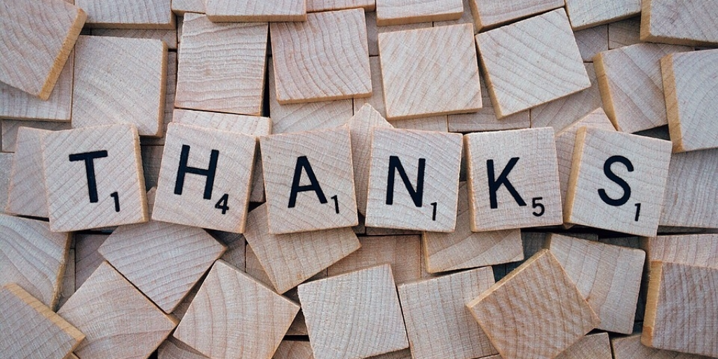 """Thanks"" written on small wooden pieces"